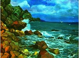 """Картина """"Скалистый берег моря""""."""