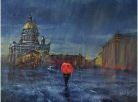 """Картина """"Дождливый Петербург""""."""