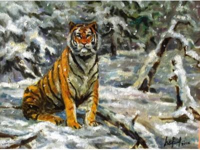 """Картина """"Тигр в снегопад""""."""