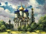 """Картина """"Троице-Сергиева Лавра.Успенский собор""""."""