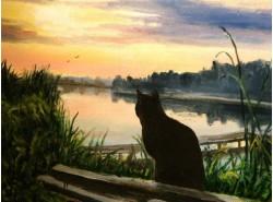 "Картина ""Закат на реке"""