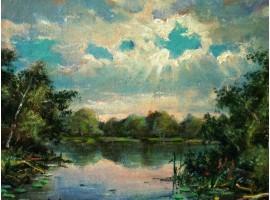 """Картина """"Лесное озеро""""."""