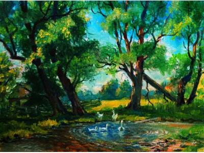 """Картина """"Лето в деревне""""."""