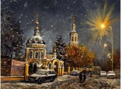 """Картина """"Ночной снегопад в Москве""""."""