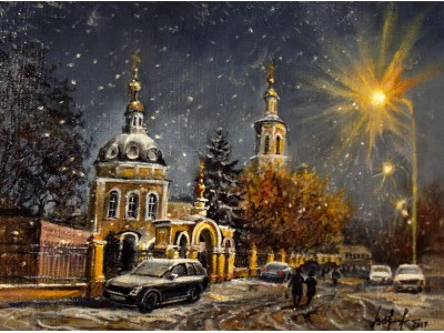 """Картина """"Ночной снегопад в Москве"""""""
