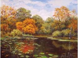 """Картина """"Осенний пруд""""."""