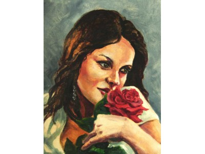"""Картина """"Девушка с розой """"."""