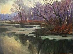 """Картина """"Весна на озере""""."""