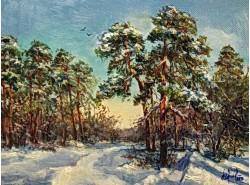 """Картина """"Зимний солнечный день в сосновом бору""""."""