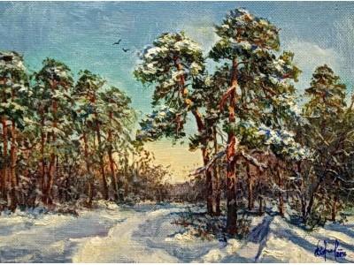 """Картина """"Зимний солнечный день в сосновом бору"""""""