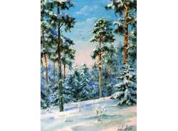 """Картина """"Сосны в снегу""""."""