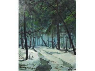 """Картина """"Оттепель в лесу"""""""