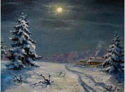 """Картина """"Зимнее полнолуние""""."""