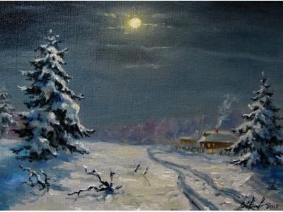 """Картина """"Зимнее полнолуние"""""""