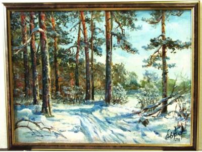 """Картина """"Зима в сосновом бору"""""""