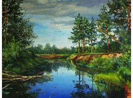 """Картина """"На реке""""."""