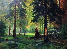 """Картина """"В еловом лесу""""."""