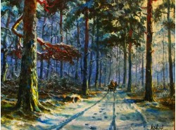 """Картина """"Зимняя дорога в лесу"""""""